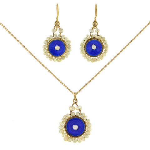 Late Victorian 14kt Pearl & Enamel Earring & Necklace Set