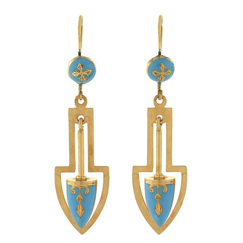 Late Victorian 15kt Gold & Blue Enameled Urn Earrings