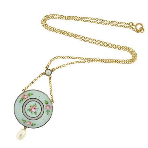 Edwardian 18kt & Silver Guilloché Enamel & Pearl Necklace