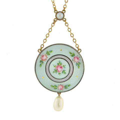 Edwardian Sterling & Lavender Guilloché Enamel Watch Fob