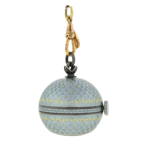Art Deco Sterling & Pale Blue Guilloché Enamel Watch Fob