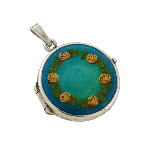 Estate Art Deco Style Argentium Silver & Enamel Flower Locket