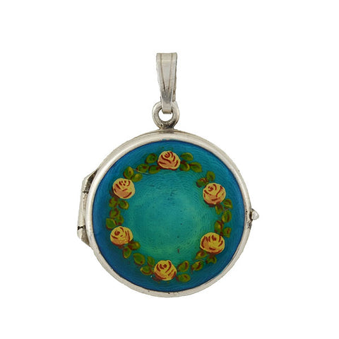 Victorian 15kt Turquoise & Rose Cut Diamonds Locket