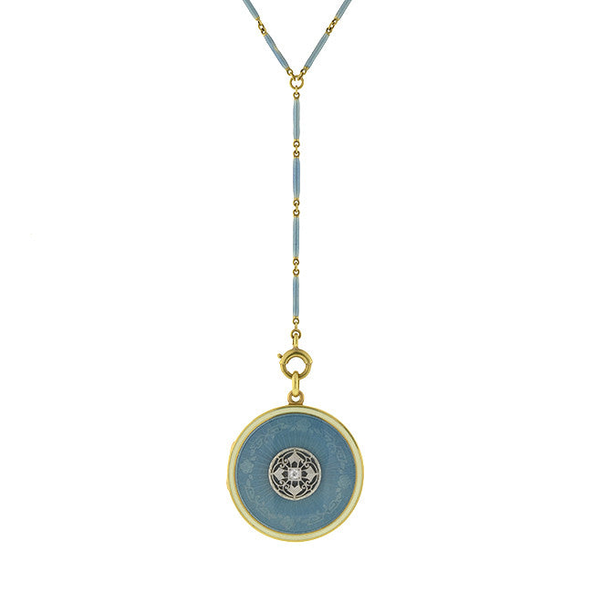 Edwardian 14kt Blue Guilloché Enamel Locket & Chain