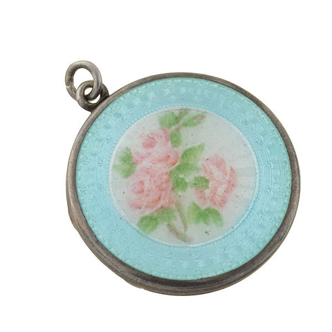 Art Deco Sterling Blue & Pink Guilloche Enamel Floral Locket