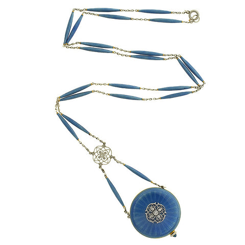 Art Deco 14kt & Platinum Enamel Watch Pendant & Chain