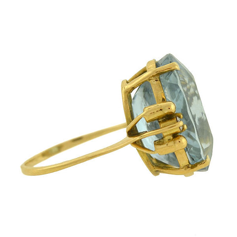 Estate 14kt Blue Topaz & Diamond Cocktail Ring