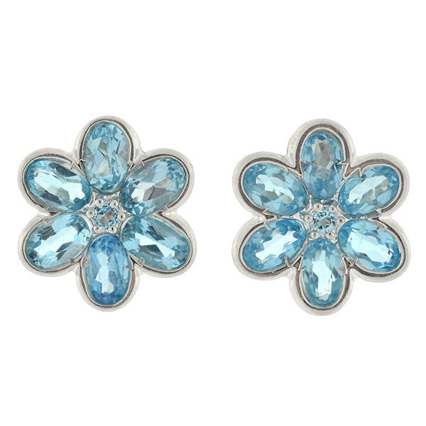 LeGi Estate 14kt Blue Topaz Flower Earrings