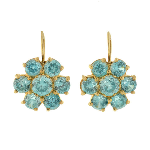 Retro 14kt Blue Zircon Cluster Earrings