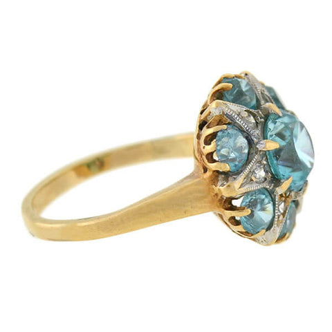 Early Retro 14kt Mixed Metals Blue Zircon Diamond Star Ring