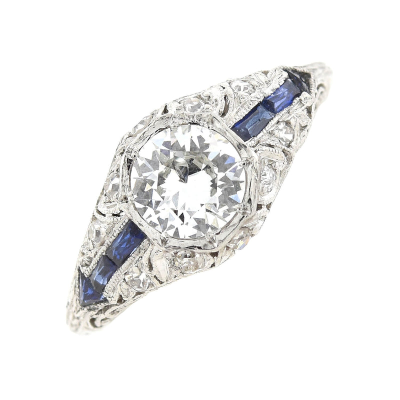 Art Deco Style Platinum Old Cushion Cut Diamond Engagement Ring 3.20ct center