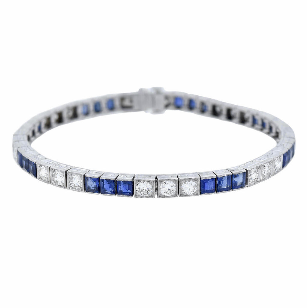 Art Deco Platinum Square Cut Sapphire + Diamond Link Bracelet