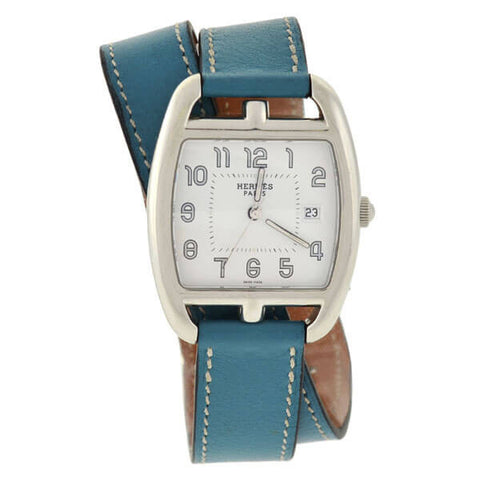 "HERMES PARIS ""Cape Cod"" Stainless Steel Leather Wrap Watch"