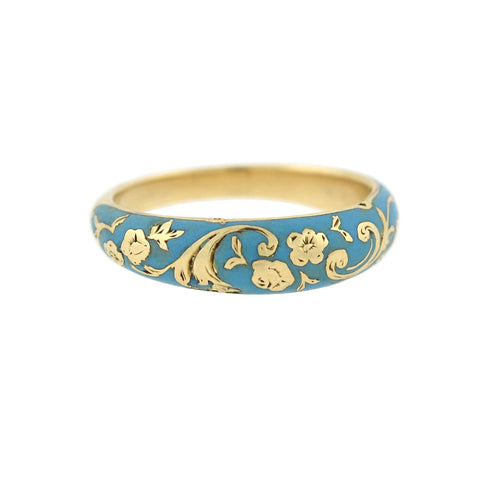 Victorian Renaissance Revival 18kt Blue Enamel Hidden Compartment Ring