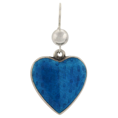 Art Deco Sterling Blue + Green Guilloché Enamel Heart Earrings