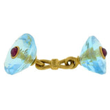 Retro 18kt Blue Topaz & Ruby 5 Piece Cufflink Set