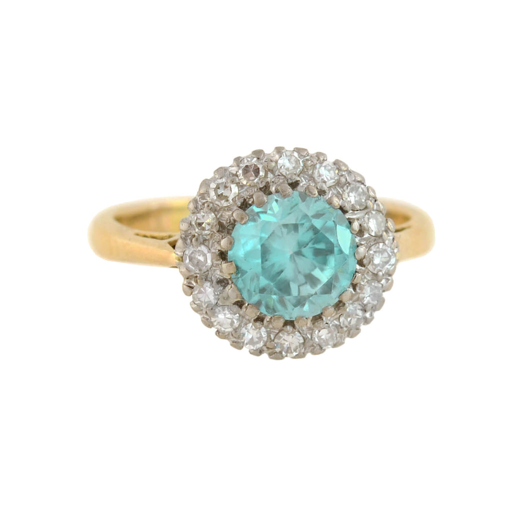 Edwardian 18kt/Platinum Blue Zircon + Diamond Cluster Ring 1.25ct center