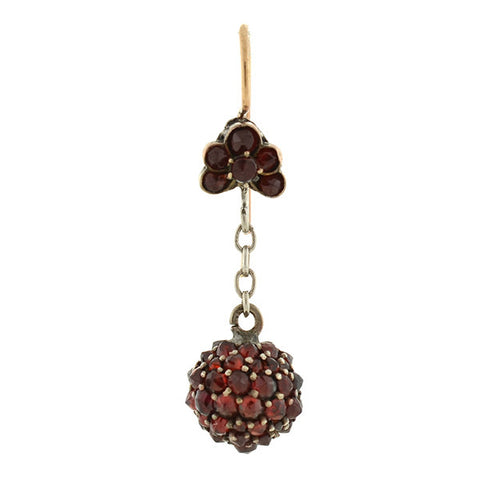 Victorian Silver & Bohemian Garnet Dangling Ball Earrings