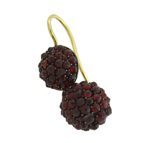 Victorian Gold-Filled Bohemian Garnet Ball Earrings