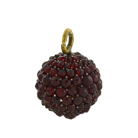 Victorian Gold-Filled Bohemian Garnet Ball Pendant