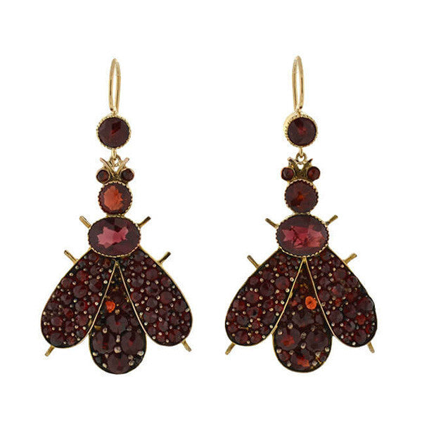 Art Deco 14kt/Gilt Bohemian Garnet Bug Earrings