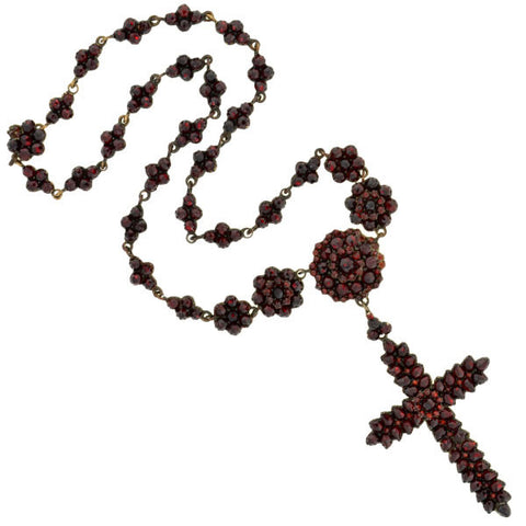 Victorian Silver Gilt Bohemian Garnet Cross Necklace