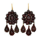 Victorian 14kt Gold Bohemian Garnet Hanging Earrings