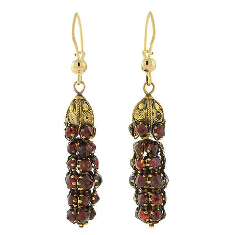 Art Deco 14kt Bohemian Garnet Wirework Earrings