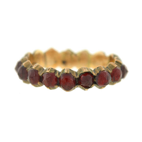 Victorian Sterling Gilt & Bohemian Garnet Ring Band