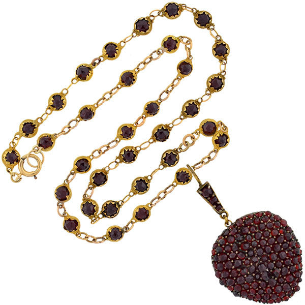 Victorian Gold-Filled Bohemian Garnet Heart Locket Necklace