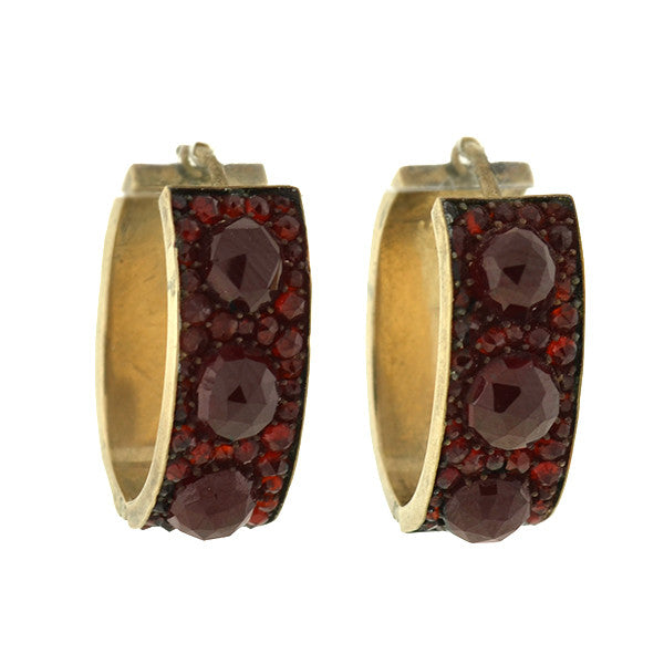 Victorian Gold Plated Bohemian Garnet Earrings