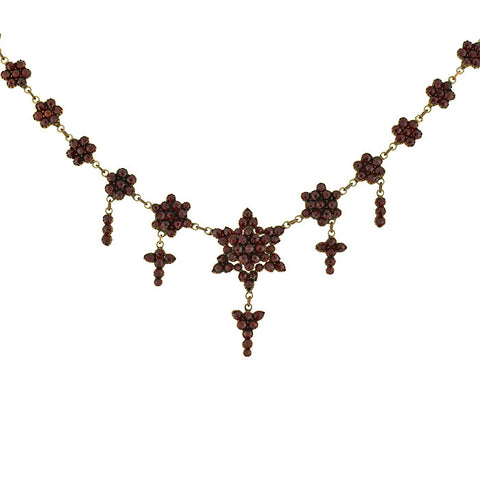 Victorian Bohemian Garnet Necklace with Star Motif