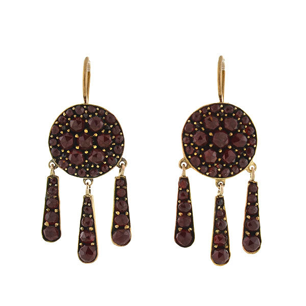 Victorian Silver Gilt Bohemian Garnet Fringe Earrings A