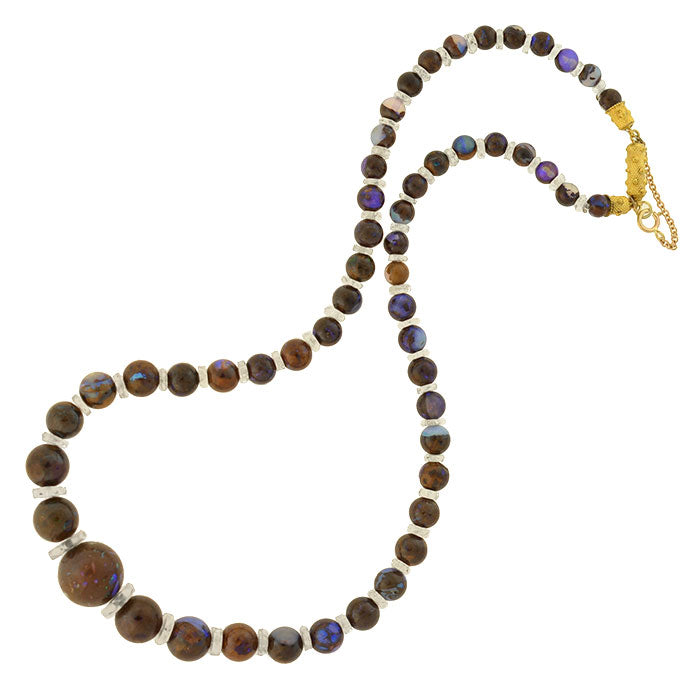 Art Deco 14kt Boulder Opal & Rock Quartz Crystal Bead Necklace
