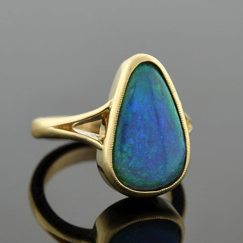 Estate 14kt Black Opal Teardrop Ring