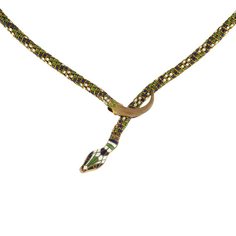 Art Deco Enameled Brass Flexible Snake Necklace