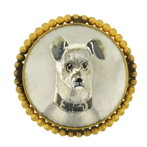 Victorian Brass Gilt & Reverse Carved Crystal Terrior Dog Pin
