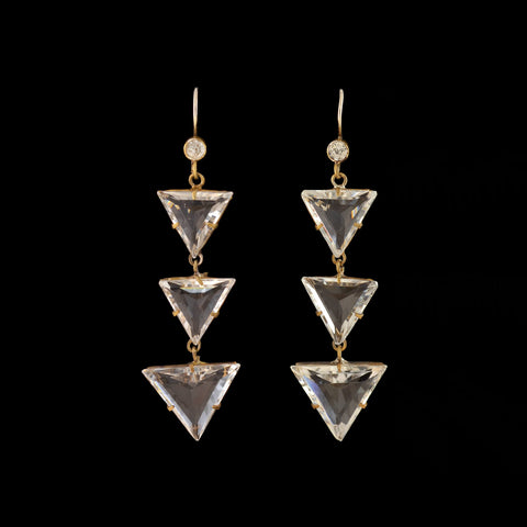 Art Deco Czech Brass + Glass Dangle Earrings
