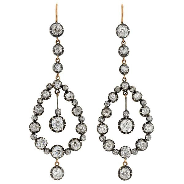 Victorian 18kt Diamond Teardrop Earrings 7ctw