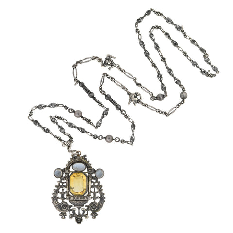 PERUZZI Retro Sterling Citrine + Moonstone Pin/Pendant Necklace