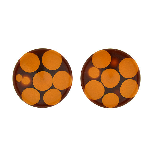 Retro Large Bakelite Injected Dot Clip Earrings