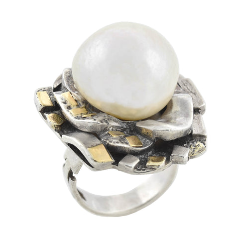 Vintage Brutalist Period Silver Two-Tone Large Mabe Pearl Ring