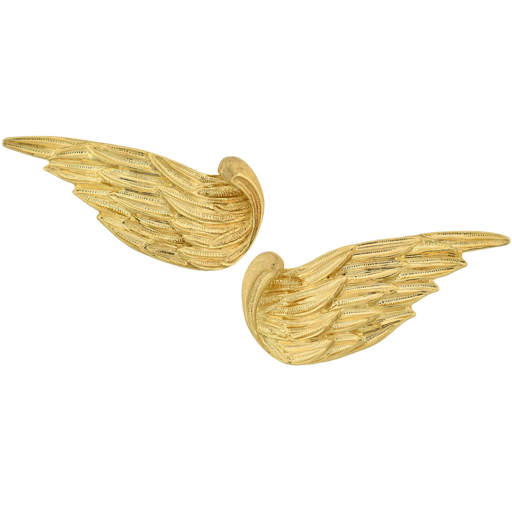 BUCCELLATI Estate 18kt Gold Feather Wing Left/Right Omega Post Earrings
