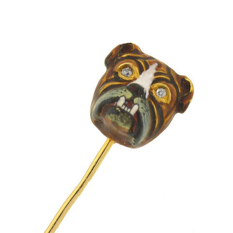 Victorian 18kt Enamel & Diamond Bulldog Stick Pin