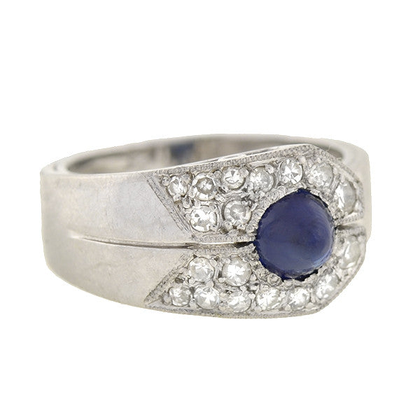 Retro French Platinum Sapphire & Diamond Ring