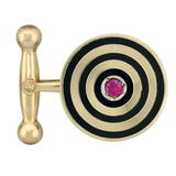 Retro 14kt Ruby + Black Enameled Cufflinks