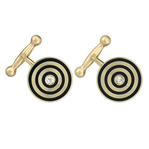 Retro 14kt Diamond + Black Enameled Cufflinks