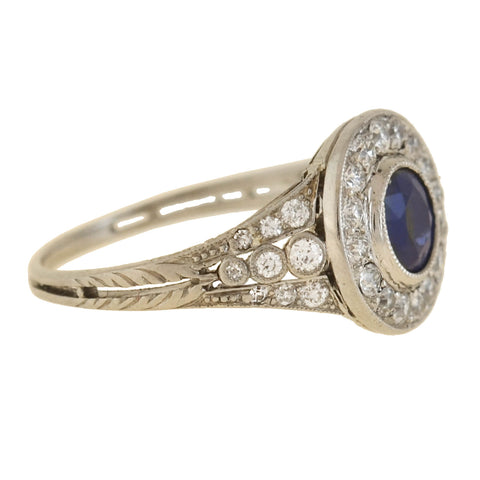 Edwardian Platinum Sapphire + Diamond Cluster Ring 0.70ct center