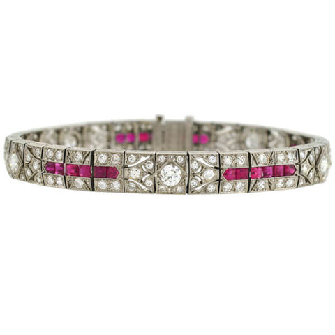 Art Deco Platinum Diamond & Natural Ruby Line Bracelet 3.50ctw