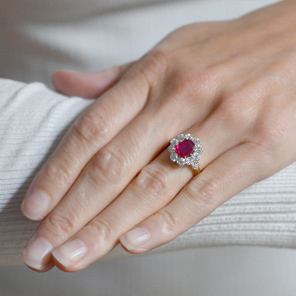 a9731f9a34872 Edwardian 18kt Natural Untreated Burma Ruby Diamond Cluster Ring ...